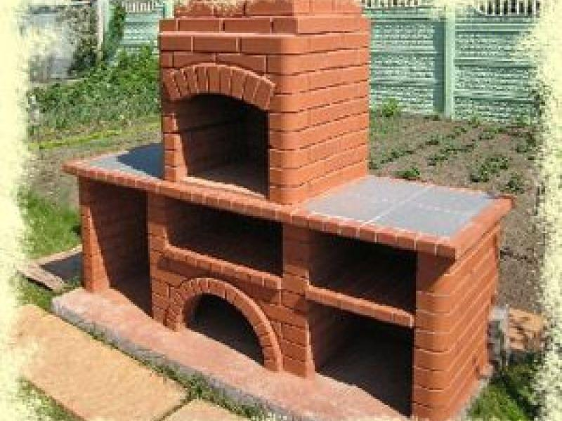 Уличный камин с мангалом схема постройки послойно