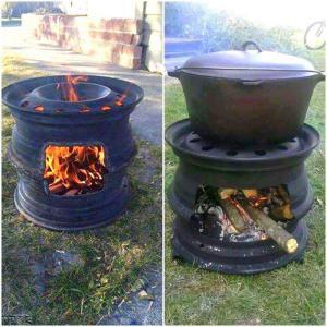 Как сделать печь из колес