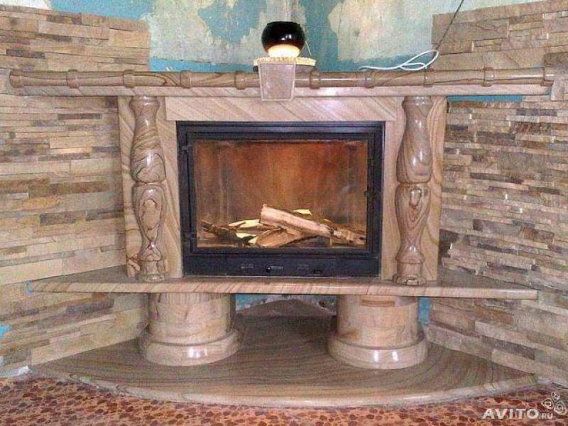 Материалы и фото отделки каминов: керамическая плитка, натуральный и искуственный камень, керамогранит