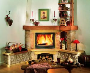 Дизайн интерьера с угловым камином
