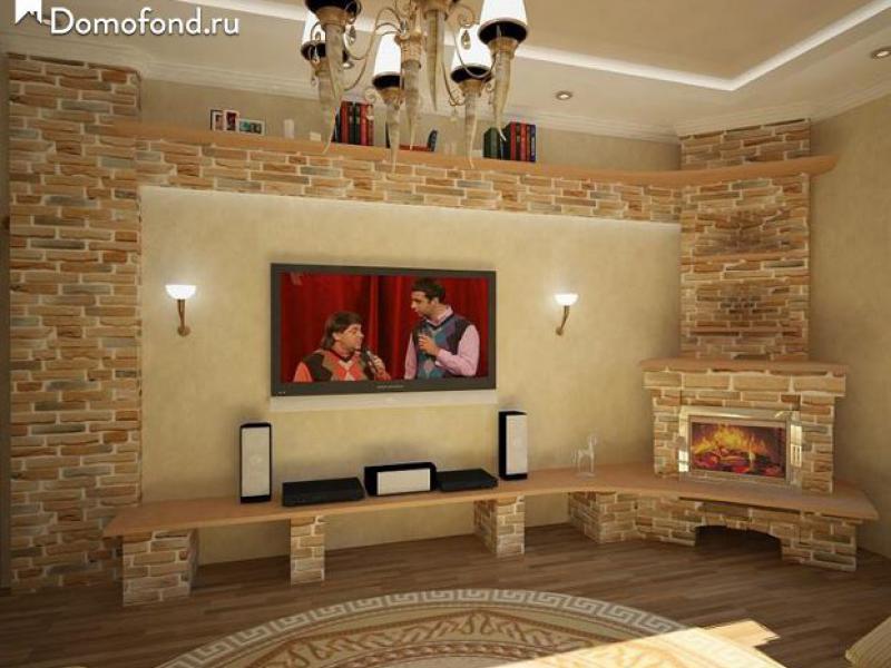 Интерьер гостиной с камином в углу фото